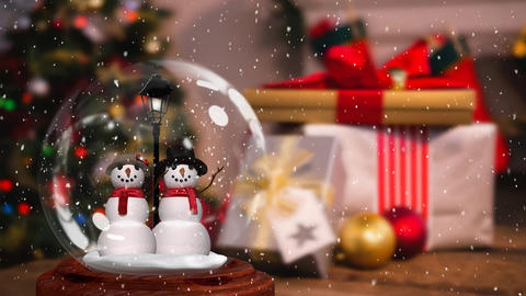 Cute Christmas animation of snowman couple in snow globe 4k Animation