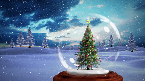 Christmas animation of decorative Christmas tree in snow globe in magical forest 4k Animation