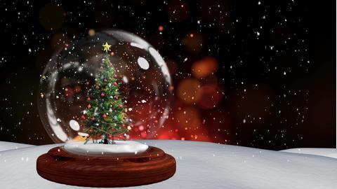 Christmas animation of Christmas tree in snow globe 4k Animation