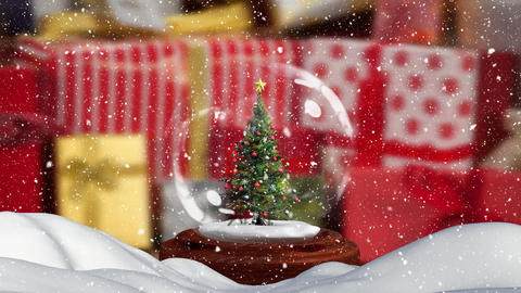 Christmas animation of Christmas tree in snow globe 4k Animation