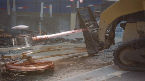 Digital composite of jcb machine construction site 4k Animation