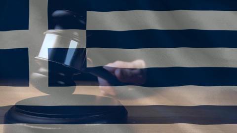 Digitally animation of Greeks Flag and gavel 4k Animation