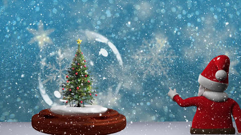 Beautiful Christmas animation of Christmas tree in snow globe and santa claus 4k Animation