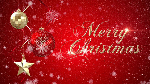 Digital animation of christmas decoration with merry christmas text 4k Animation