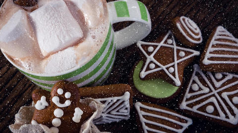 Falling snow with Christmas cookies decoration Animation
