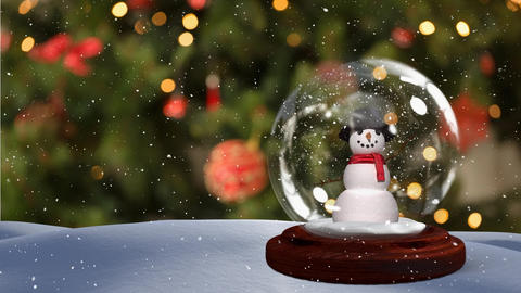 Cute Christmas animation of snowman in snowy landscape 4k Animation
