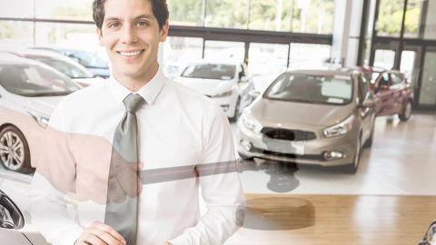 Digital animation of executive standing in car showroom 4k Animation