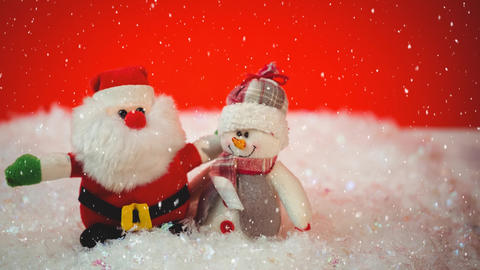 Falling snow with Christmas Santa and snowman decoration Animation