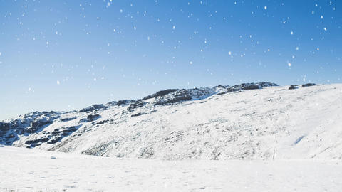 Mountain winter scenery and falling snow Animation