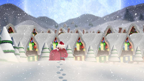 Santa clause wandering through a winter scenery combined with falling snow Animation