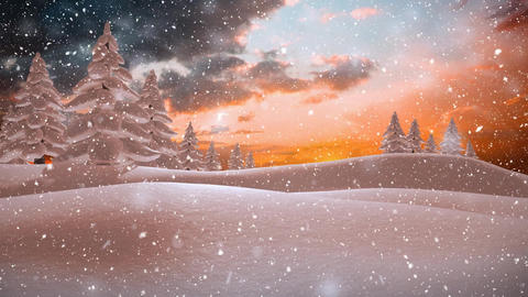 Winter scenery with orange colored sky and falling snow Animation