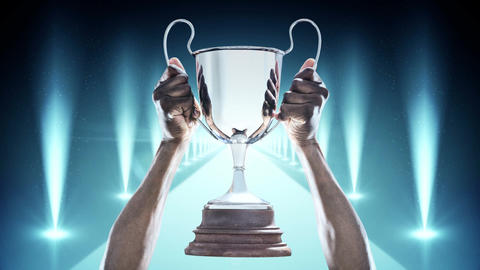 Hands holding Silver Trophy Video Animation