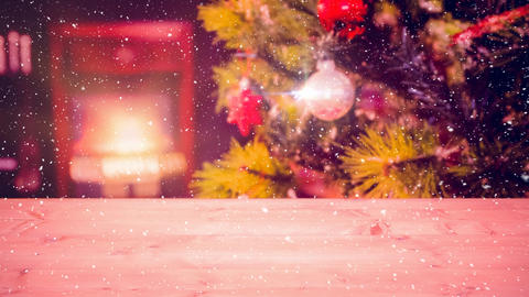 Falling snow with Christmas home Animation
