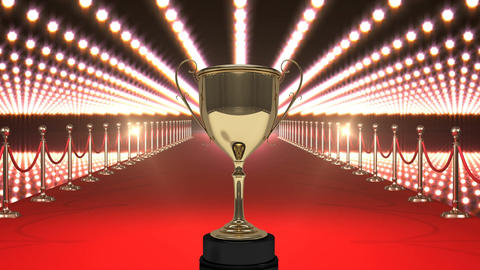 Trophy with flashing lights and red carpet Animation