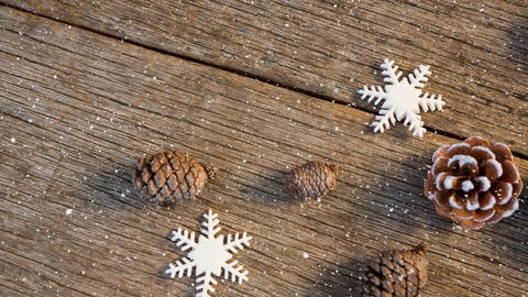 Falling snow with Christmas pine cone decoration Animation