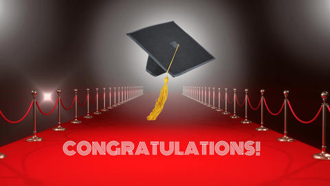 Graduation hat on red carpet Video Animation