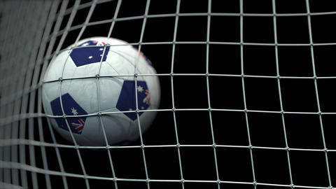 Ball with flags of Australia hits goal. 3D animation Live Action