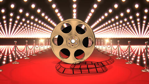 Movie tape on red carpet with lights video Animation