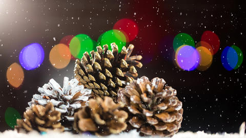 Falling snow with pine cone Christmas decoration Animation