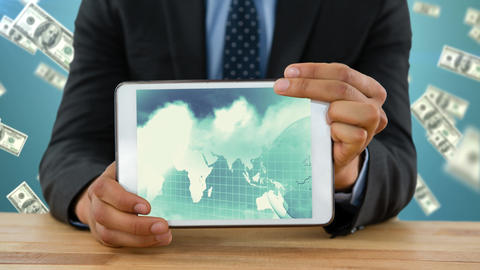 Tablet showing the world map Animation