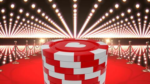 Poker chips and casino red carpet with flashing lights Animation