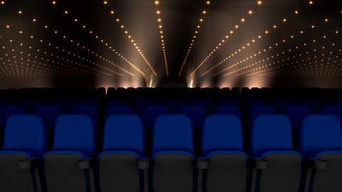 Cinema seating with black and gold lights video Animation