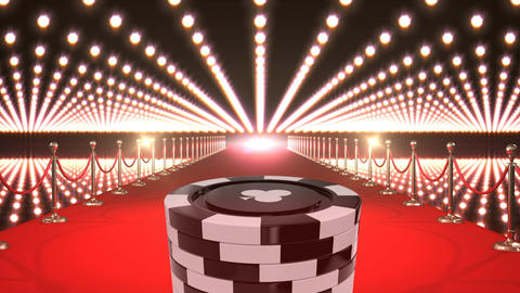 Black Poker Chips on red carpet video Animation