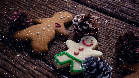 Falling snow with Christmas cookie decorations Animation