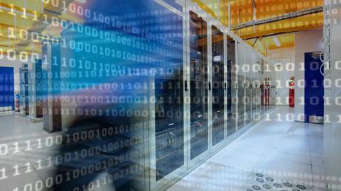 Server Room and binary code Animation