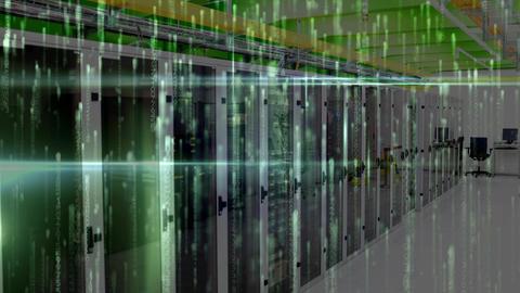 Data Server Room against animated lights Animation