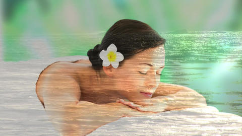 Beautiful women relaxing at spa and peaceful landscape of sea Animation