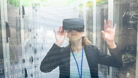 Woman using VR with binary code Animation