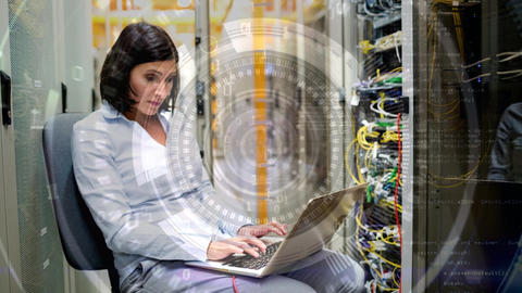 Woman working in Server Room Animation