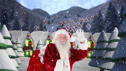 Santa clause waving in front of decorated houses combined with falling snow Animation