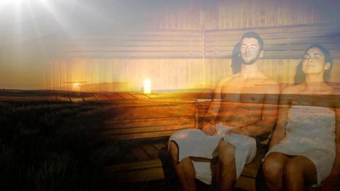 Couple enjoying sauna together with sunset Animation