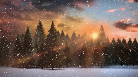 Winter scenery with sunset and falling snow Animation