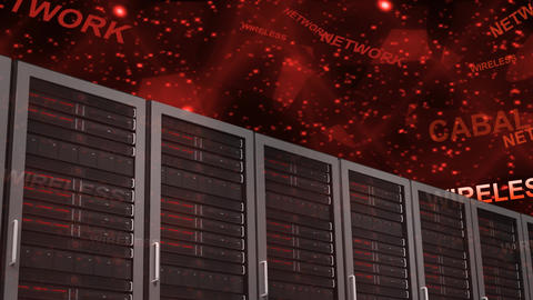 Server Room with red words Animation