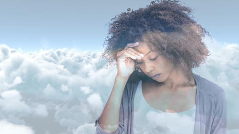 Digital animation of stressed curly haired woman standing with hand on head 4k Animation