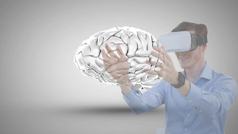 Man using VR with brain icon Animation