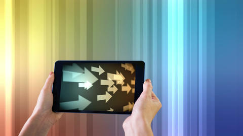 Digital generated of woman holding digital tablet 4k Animation