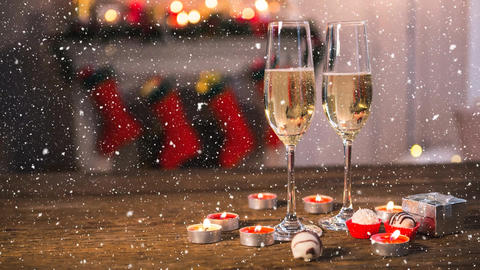 Falling snow with Christmas champagne Animation
