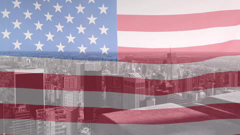 Digital animation of American flag swaying 4k Animation