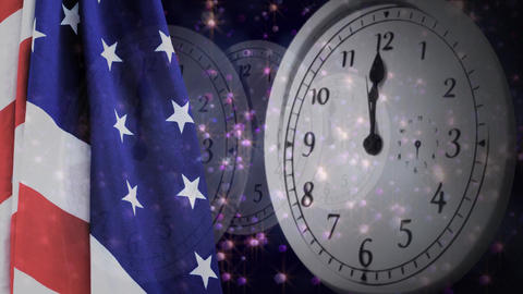 Digital animation of United States flag and wall clock 4k Animation