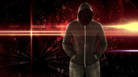 Digital animation of hooded hacker standing 4k Animation