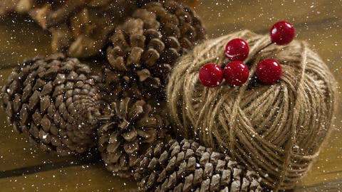Falling snow with Christmas pine cones decoration Animation