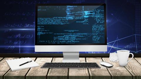 Binary code technology on computer screen on desk 4K Animation