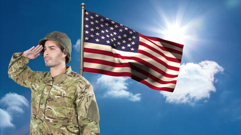 Digital animation of American soldier saluting against American flag 4k Animation