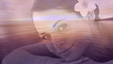 Relaxed smiling women with flower and sea landscape for valentine day 4k Animation