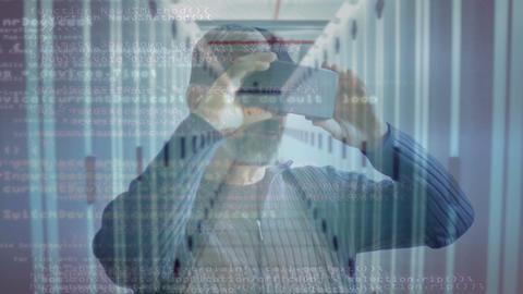Man using VR headset against server room background Animation