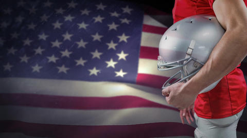 Digital animation of Rugby player with helmet standing against American Flag 4K Animation